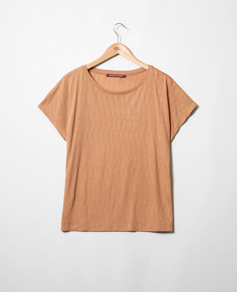 T-shirt au toucher doux Caramel beige Ivoire