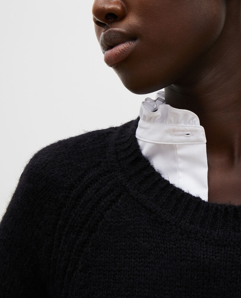 Pull large à col bateau en laine Black beauty Mombrier