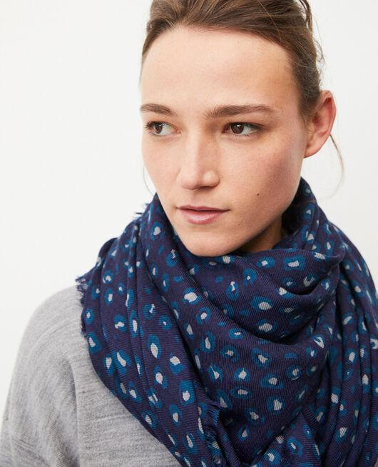 Foulard imprimé en laine BLUE LEOPARD PEACOAT