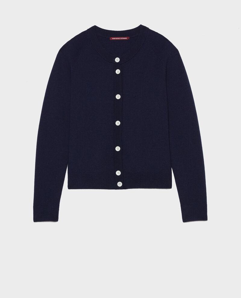 Cardigan pure laine Maritime blue Louvres