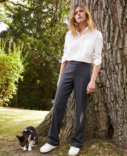 Pantalon tailoring avec de la laine HEATHER GREY