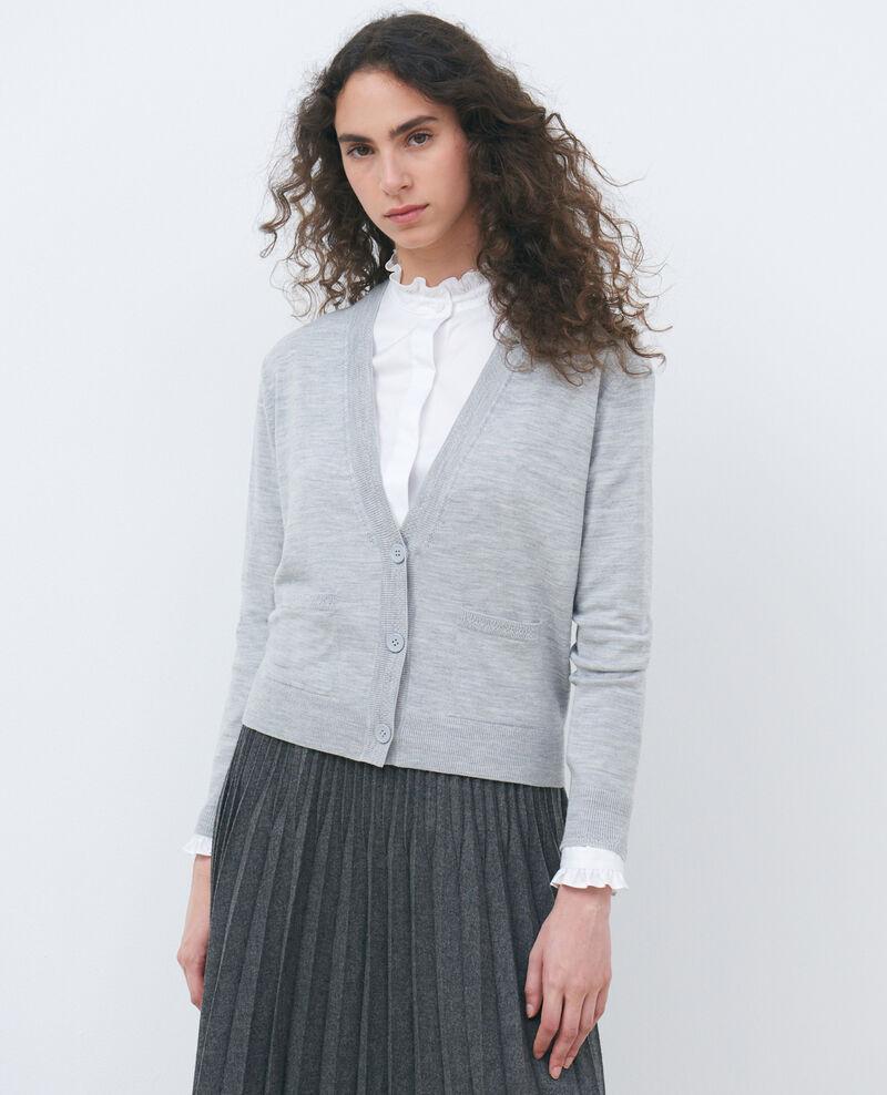Cardigan court en laine Melange grey Palabre