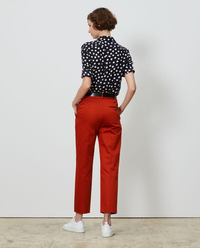 Pantalon chino 7/8e fuselé en coton Rooibos tea Nezel