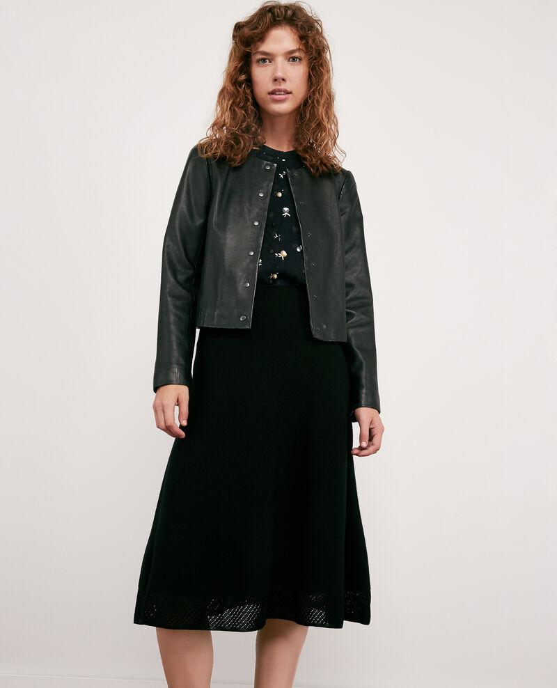 Jupe en maille zéro couture 100% laine Noir Dedicasser
