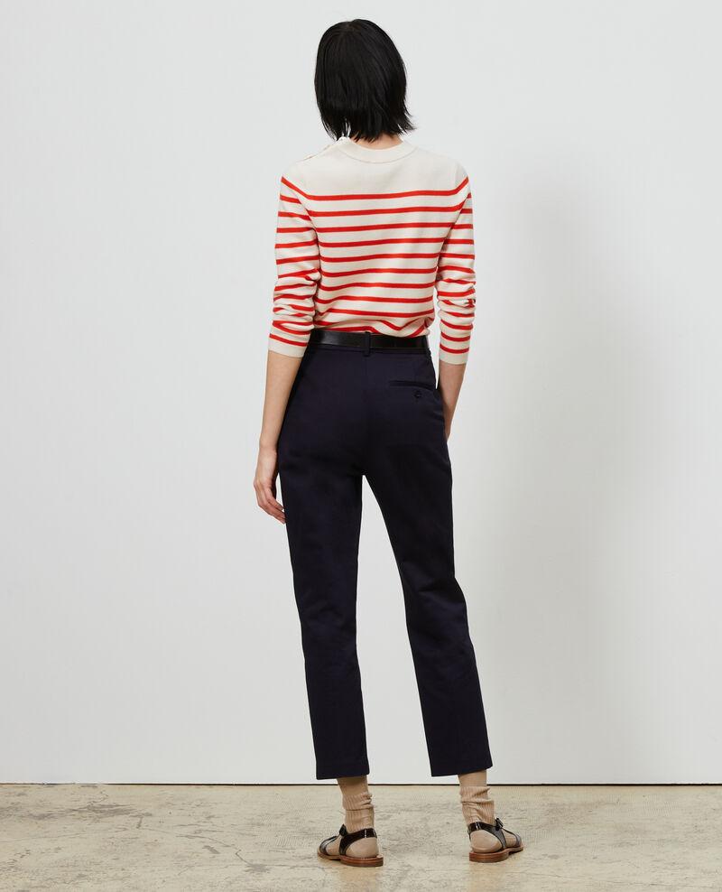 Pantalon chino 7/8e fuselé en coton Night sky Mezel