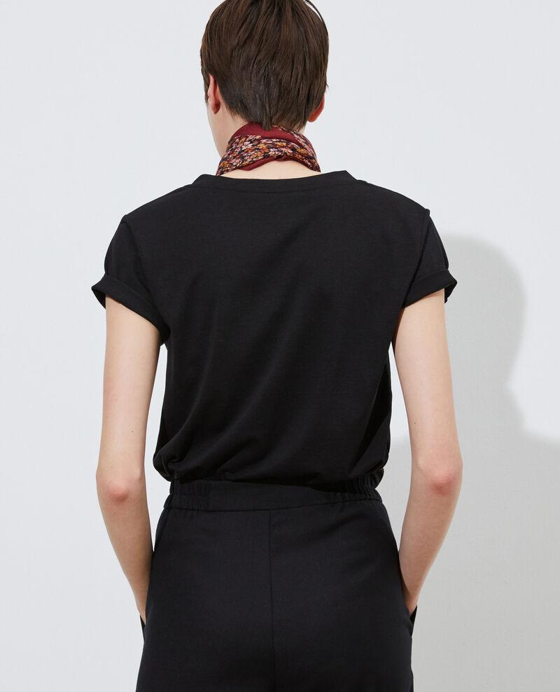 T-shirt fluide col V Black beauty Paberne