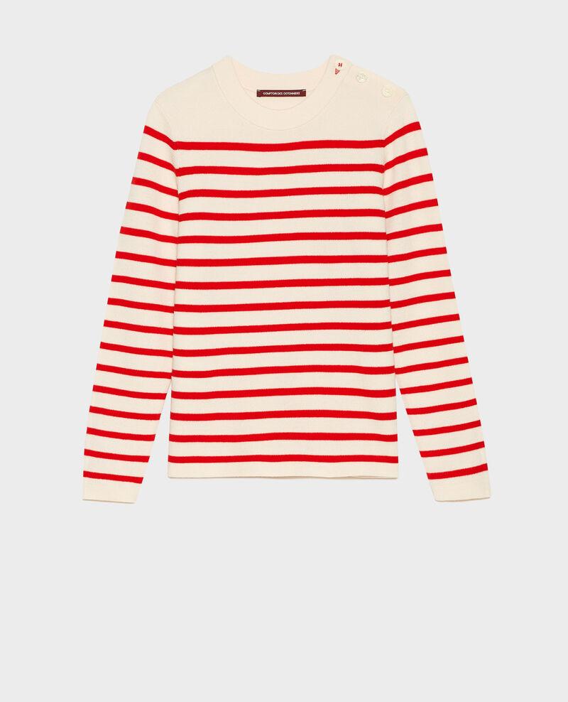 MADDY - Pull marin en laine mérinos Stripes fiery red gardenia Liselle