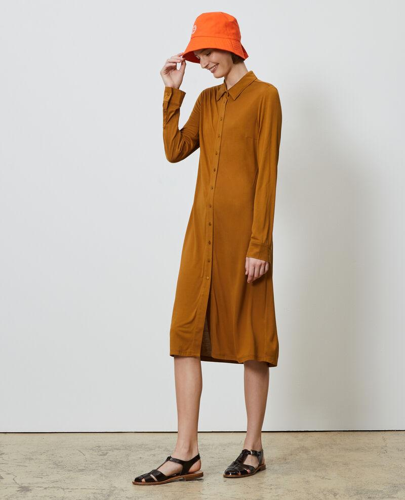 Robe chemise en jersey de soie Bronze brown Lulia