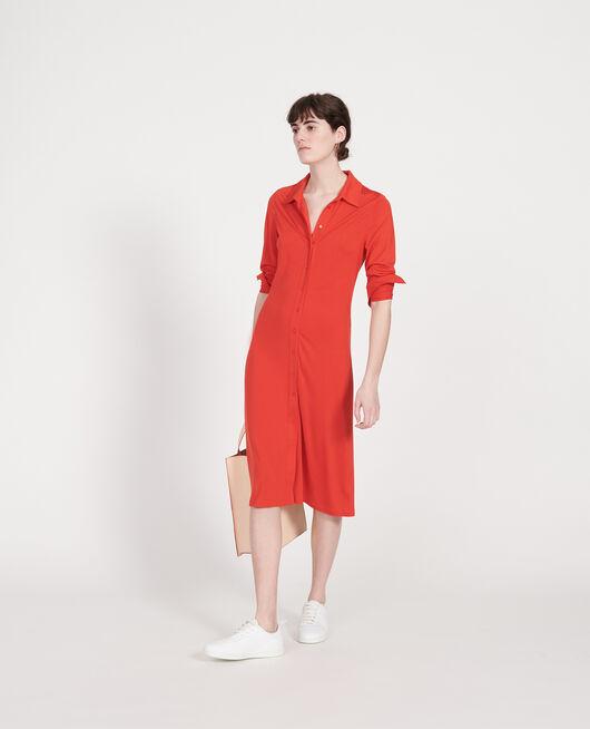 Robe chemisier en jersey de soie FIERY RED