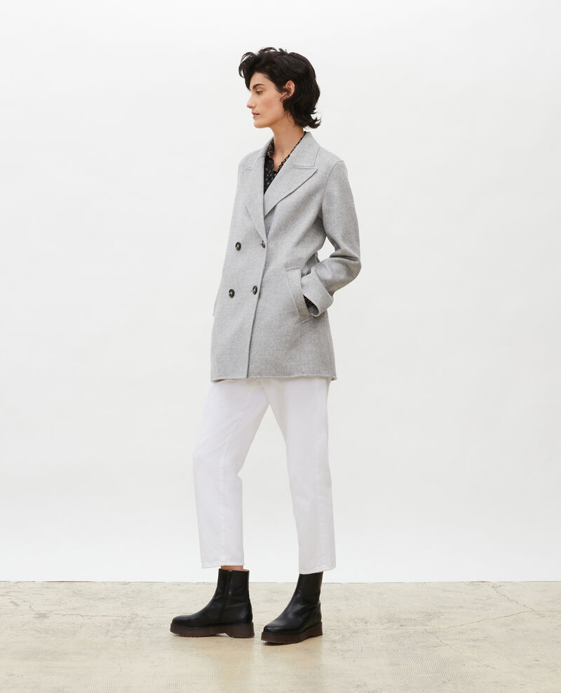 Manteau caban en lainage double face Light grey Lintot