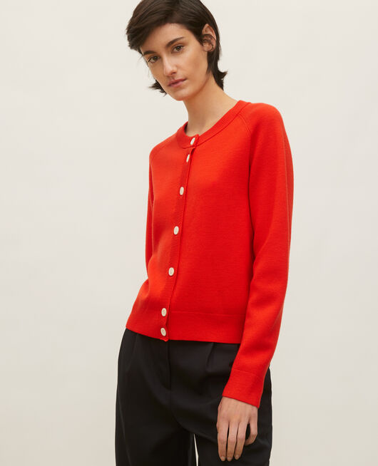 Cardigan col rond en laine FIERY RED