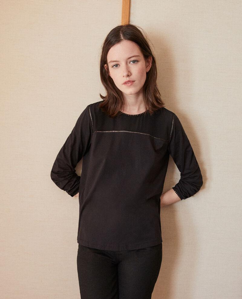T-shirt bi-matière avec détails de pompons Noir Glivoire