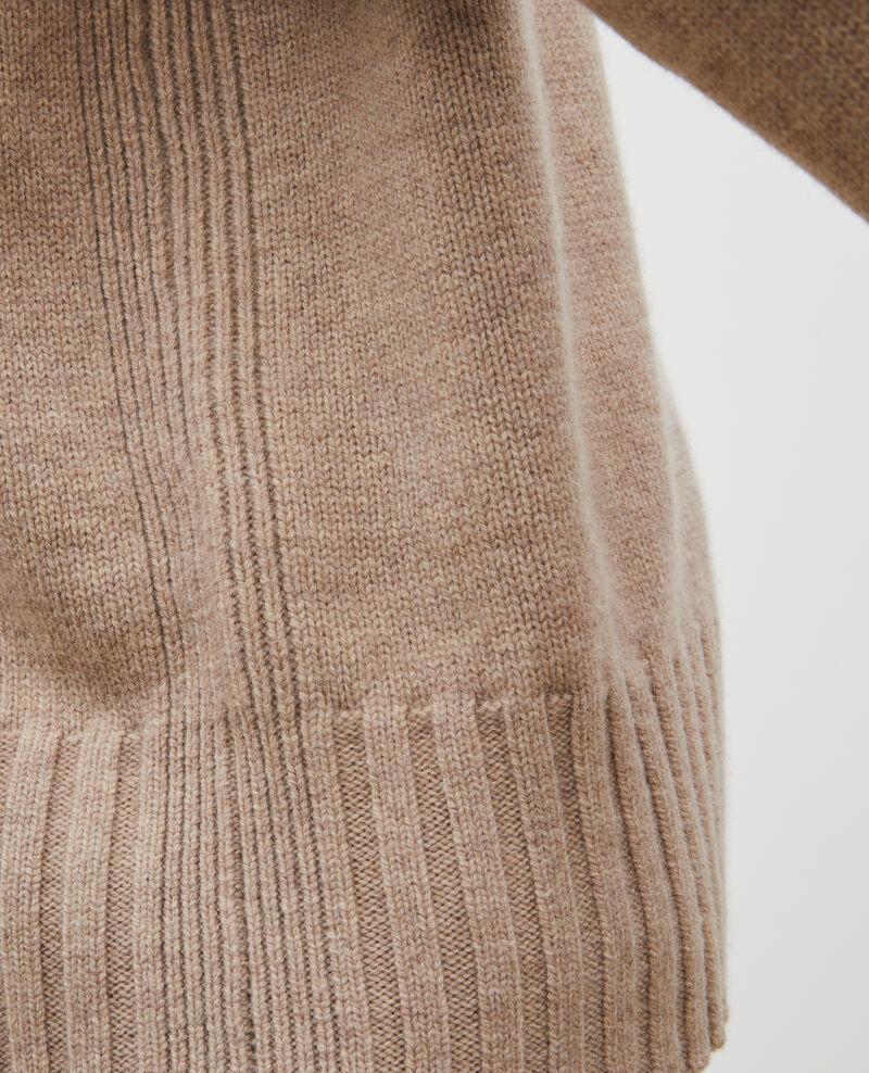 Pull en laine col montant à larges côtes Latte Marques