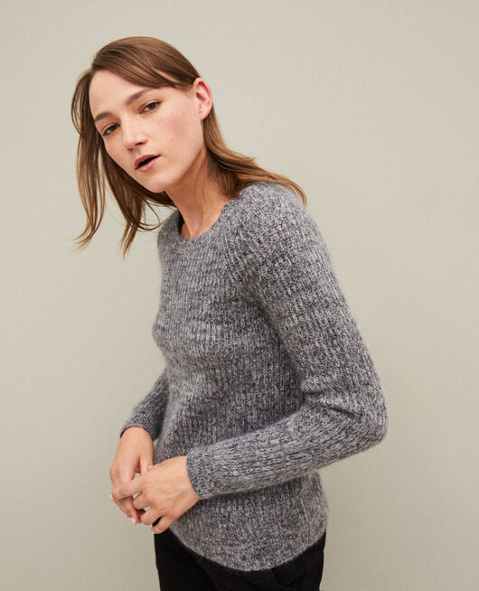 Pull chiné en mohair LIGHT GREY/NOIR/SILVER GRAY