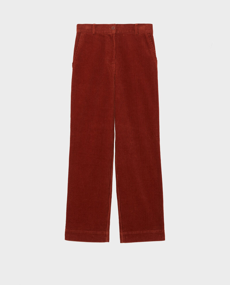 Pantalon large en velours côtelé Brandy brown Maora