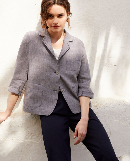 Veste de costume en lin NATURAL LINEN/INK NAVY