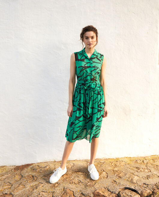 Robe en crêpe imprimée PRIMITIVE LINES GREEN