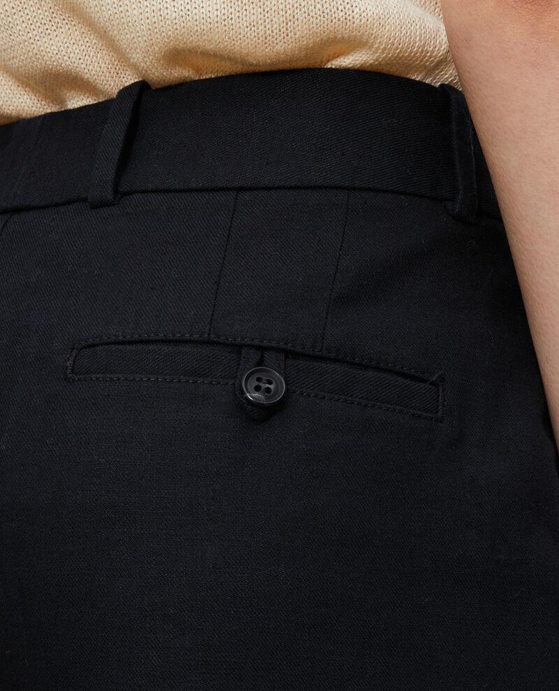 Pantalon 7/8e en coton et lin Black beauty Laiguillon
