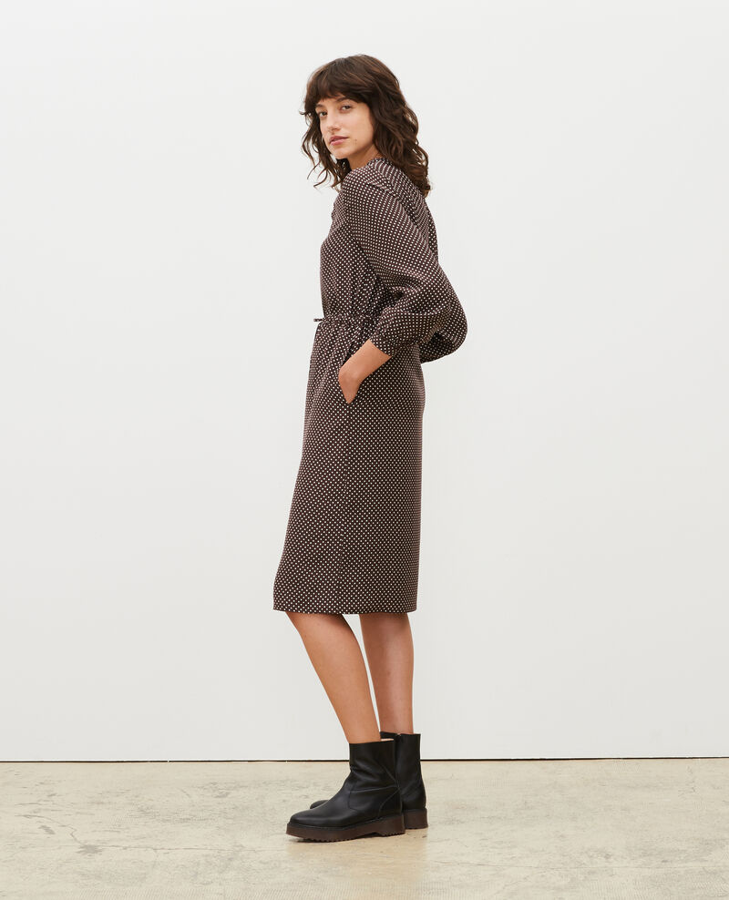 Robe ample en soie Little pois coffee bean Megrisa
