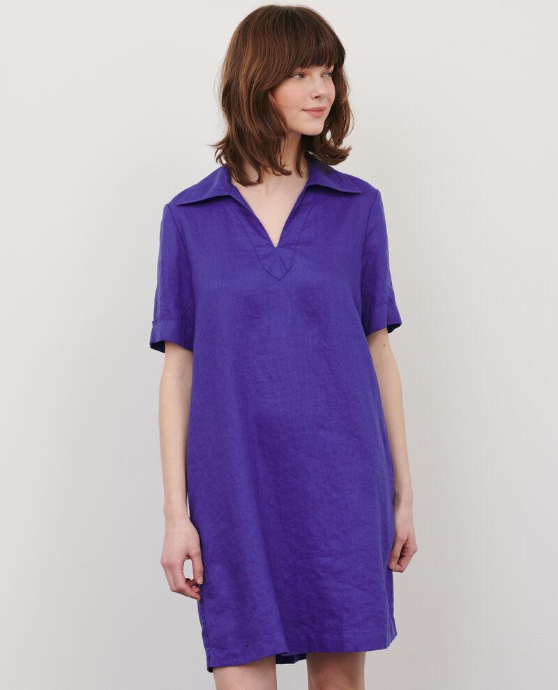 Robe vareuse en lin Royal blue Noailles