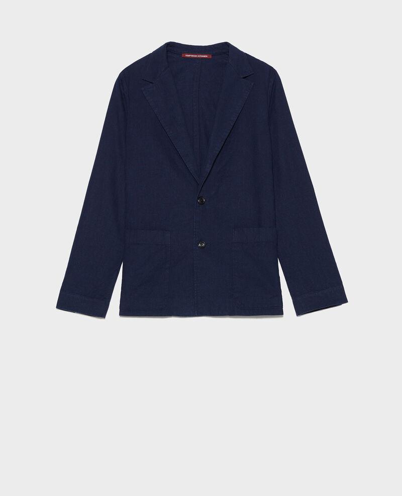 Blazer masculin en coton et lin Maritime blue Lalbere