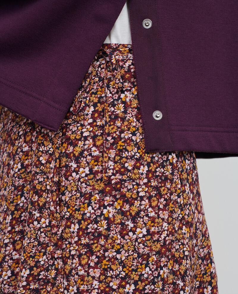 Jupe portefeuille courte en soie Liberty cabernet Palongue