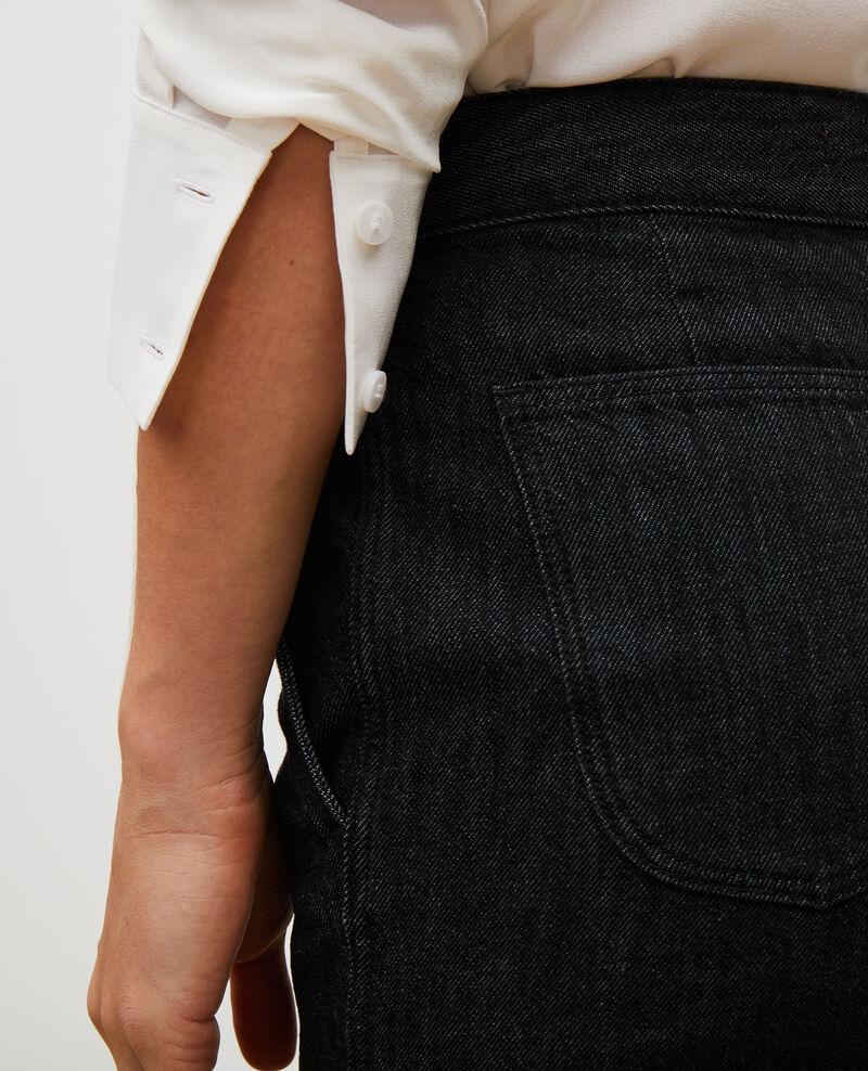 CHINO - Pantalon carotte en denim taille haute Noir denim Mozol