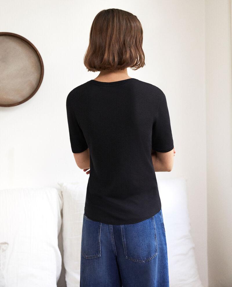 T-shirt côtelé Noir Ibabie