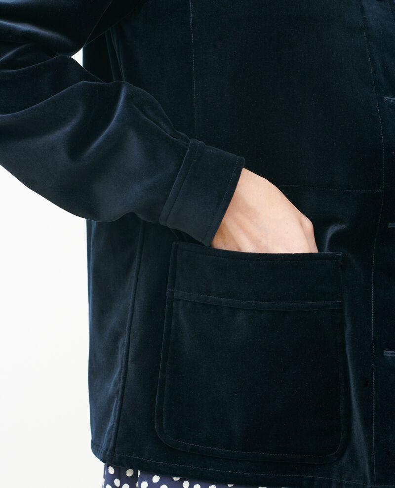 Veste courte en velours de coton Navy deep Palipine