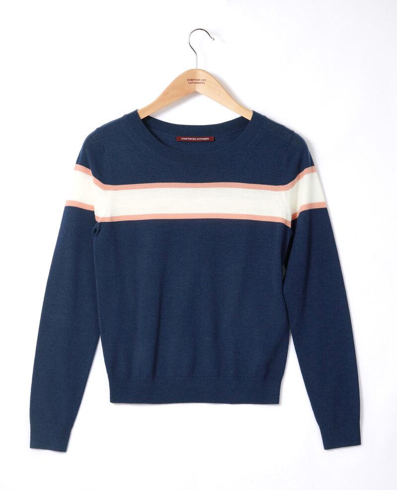 Pull en laine mérinos Medieval blue/off white/burnt coral Gengoux
