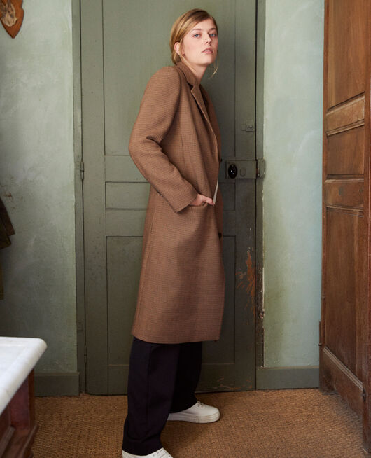 Manteau mi long HOUNDTOOTH