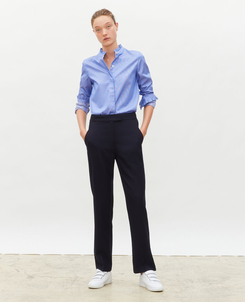 Pantalon MARCELLE, masculin, droit en laine  Night sky Misabelle