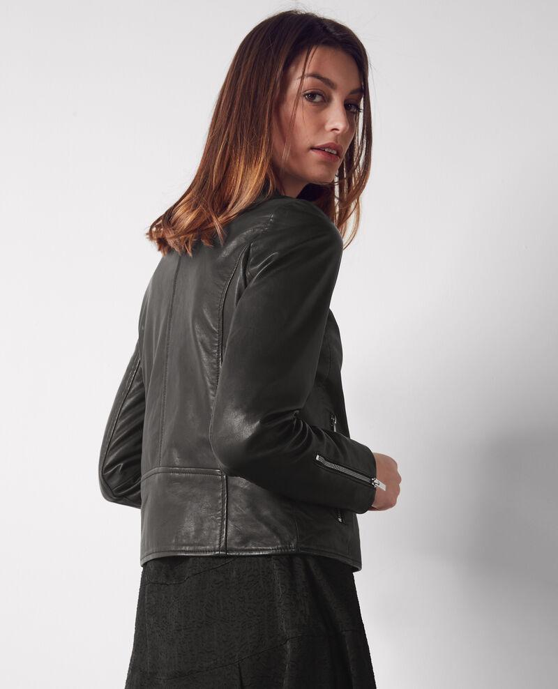 Veste en cuir noir pour femmes chat comptoir des - Veste en cuir comptoir des cotonniers ...