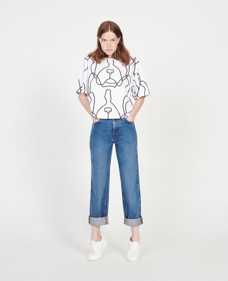 T-shirt imprimé Léon en coton Optical white Lacauchie
