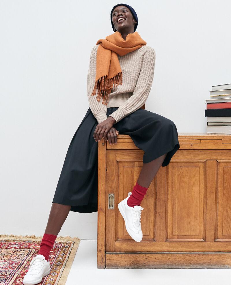 BABETH - Jupe culotte à plis en laine et cachemire Black beauty Marby