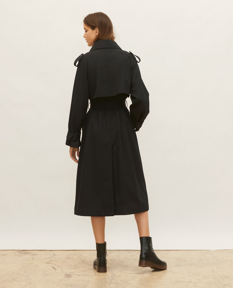 Trench oversize en laine fluide Black beauty Laiko