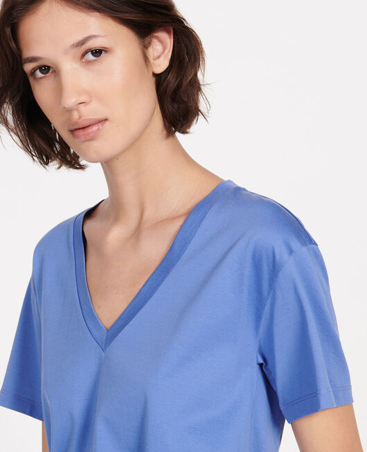 T-shirt en coton à manches courtes col V AMPARO BLUE