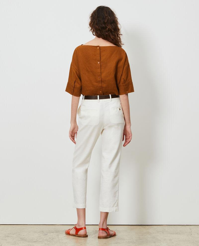 Pantalon MARGUERITE 7/8e en coton et lin Gardenia Laiguillon