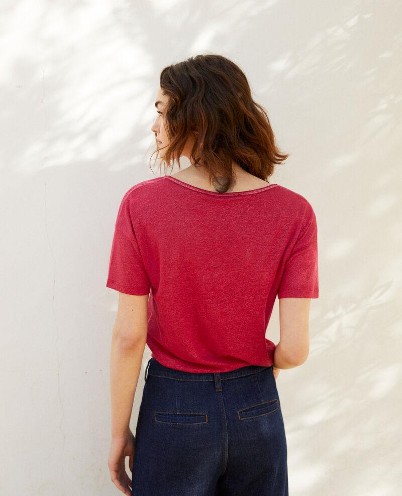 T-shirt effet brillant en lin Fushia Imapou