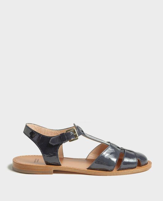 Sandales en cuir vernis MARITIME BLUE