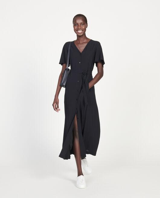 Robe longue en viscose crêpe BLACK BEAUTY