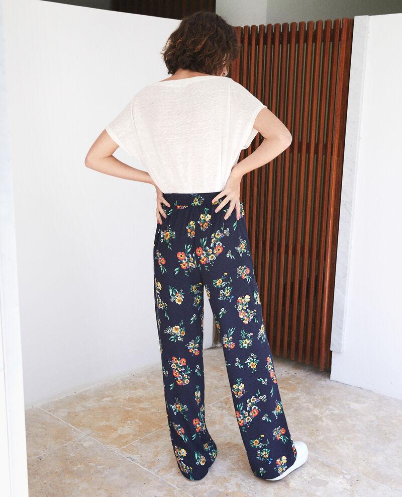 Pantalon fluide Bleu Flower