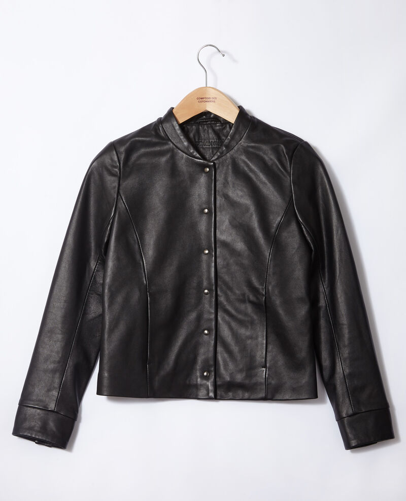 Veste en cuir de style bomber Noir Gabinien