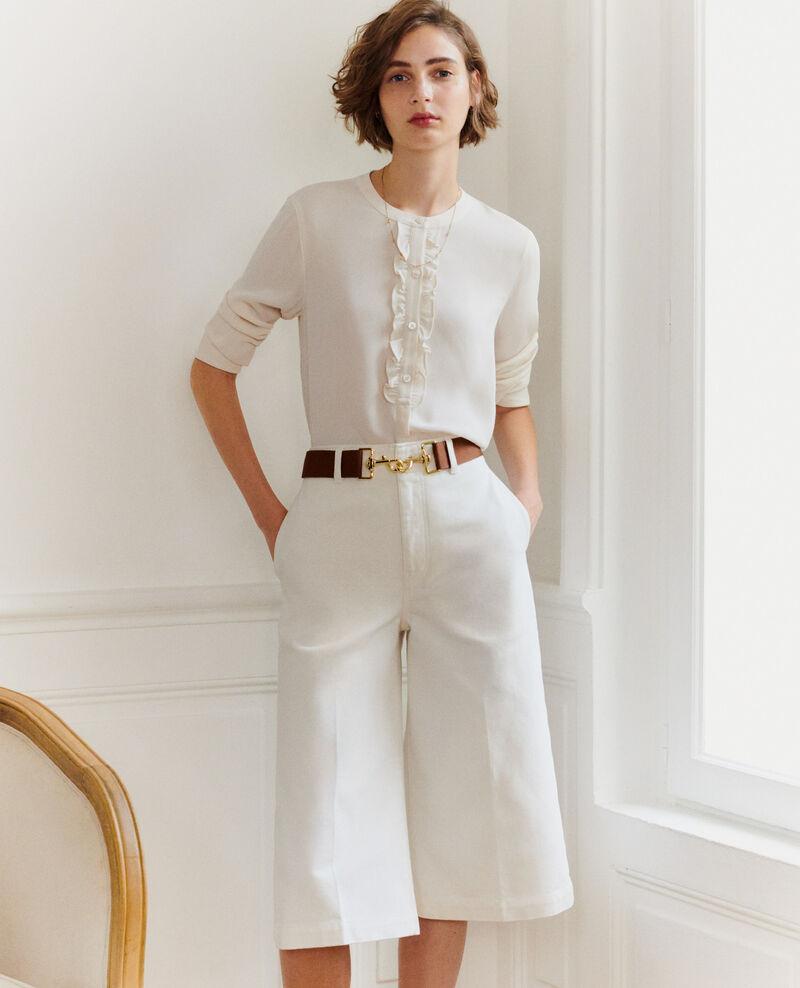 Jupe-culotte en denim blanc Optical white Nayoz