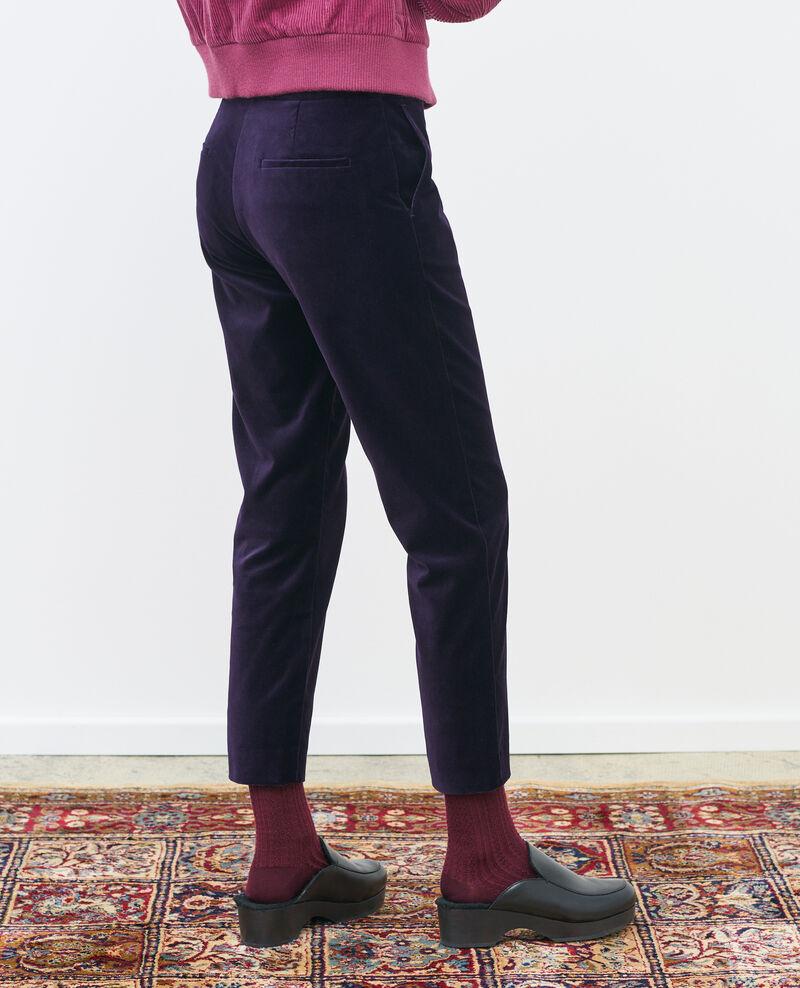 Pantalon MARGUERITE, 7/8e en velours de coton Purple Poko