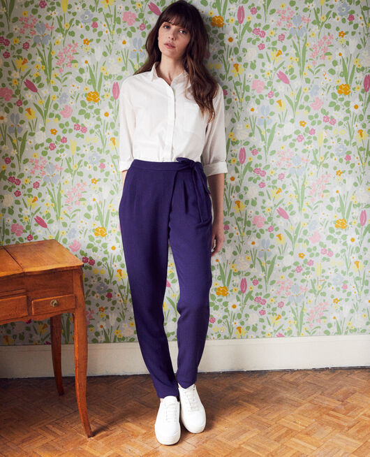 Pantalon de type sarouel avec nœud EVENING BLUE