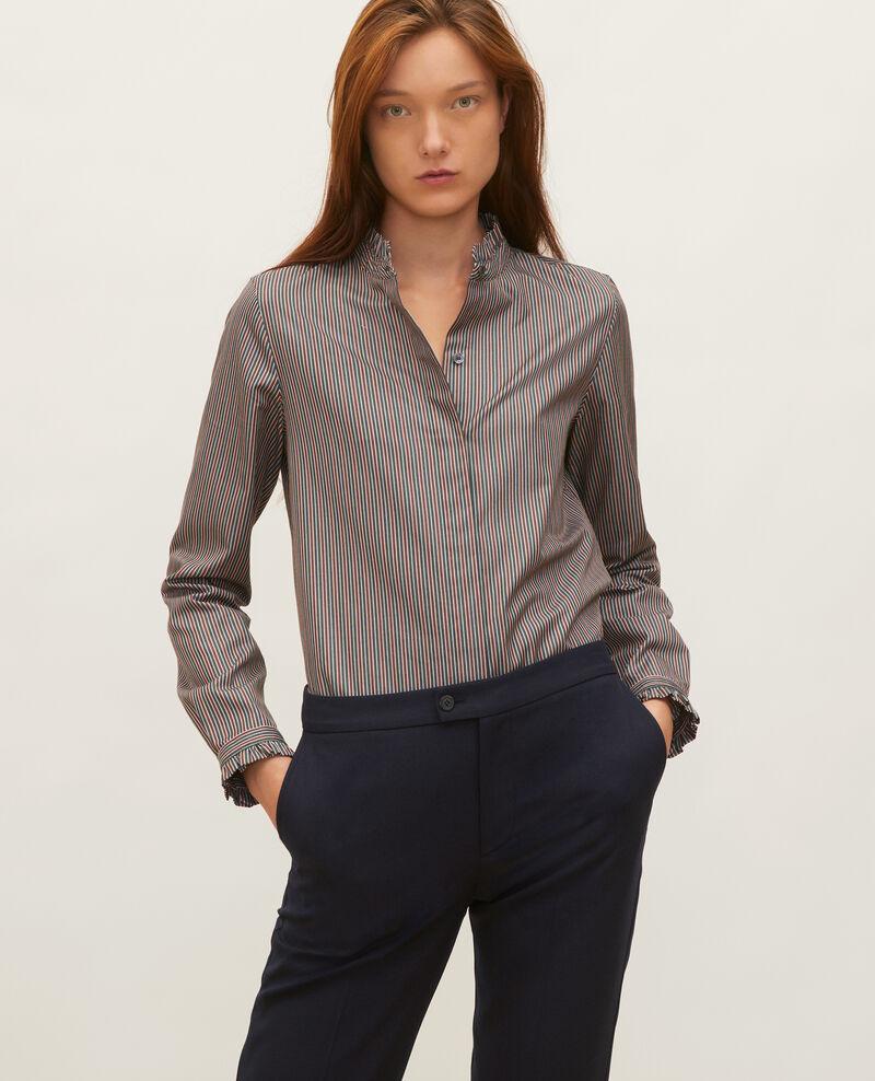 Chemise en coton à col montant volanté Stripes3 scarab Marcenarai