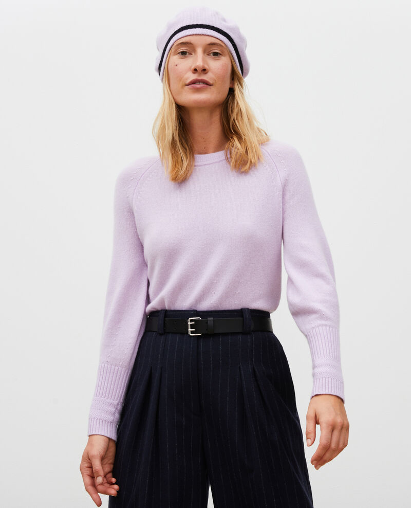 Pull en cachemire manches bouffantes Pastel lilac Migny
