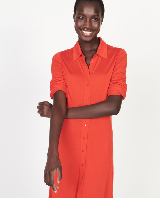 Robe chemisier en jersey de soie FIERY RED