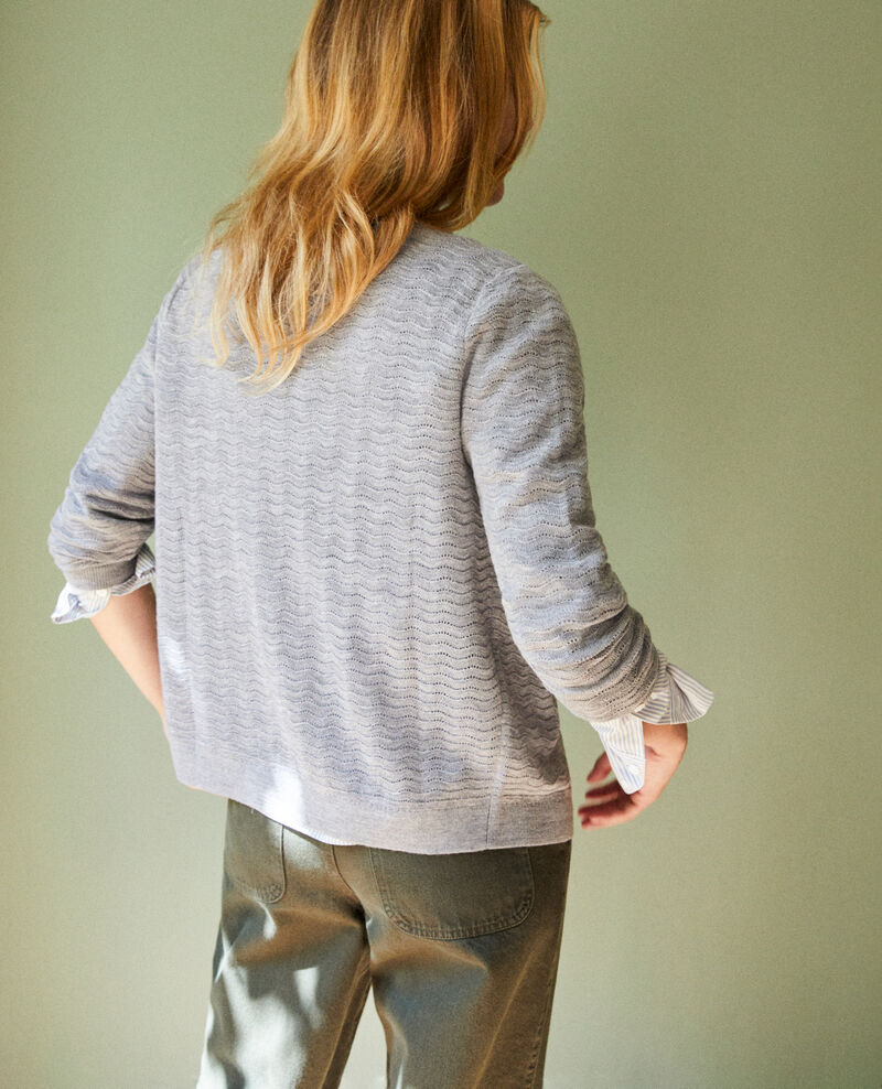 Cardigan en laine fantaisie Medium grey Jemuel
